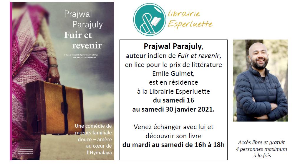 Prajwal Parajuly en résidence à la librairie Esperluette du 16 au 30 janvier – 16h – 18h